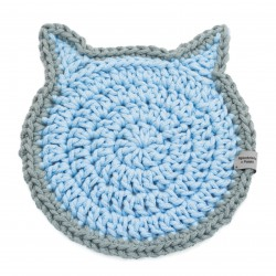 Plate pad blue-gray cat Handicraft from Poland