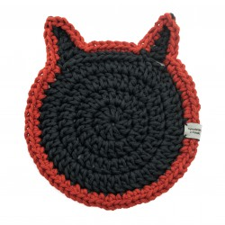 Black and red cat plate Crafts from Poland