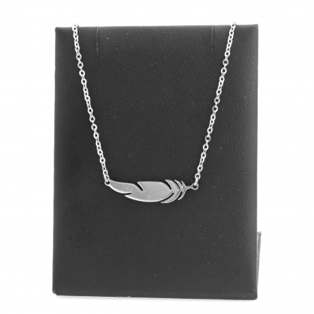 Feather necklace, 40 cm surgical steel