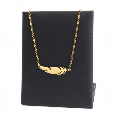 Feather necklace, 45 cm gold-plated surgical steel