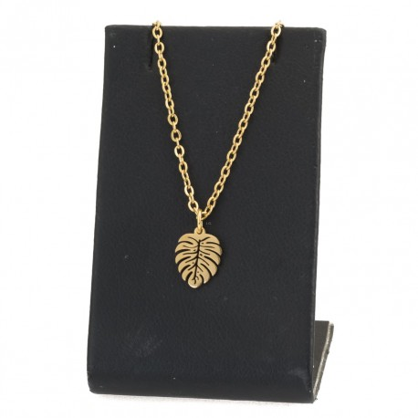 Monstera leaf necklace, 45 cm gold-plated surgical steel