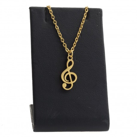 Treble clef necklace, 45 cm gold-plated surgical steel