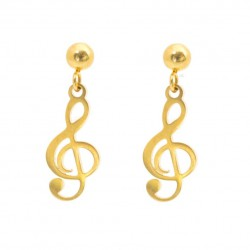 Earrings sticks treble clef, gold plated surgical steel