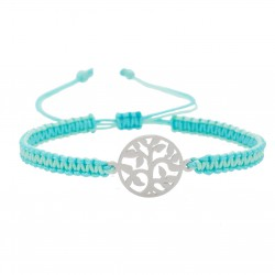 The tree of life bracelet adjustable steel braided macramé, and mint celadon