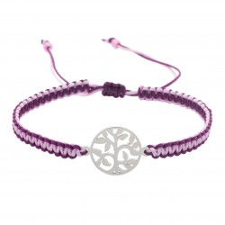Adjustable bracelet tree of life macrame braided steel, lilac-plum