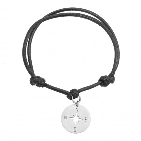 Rope bracelet, wind rose surgical steel