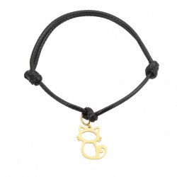 A cat rope bracelet, gold-plated surgical steel