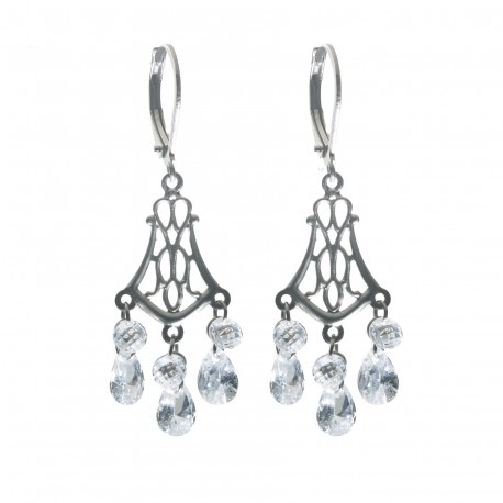 Evening dangle earrings, rhinestones and surgical steel