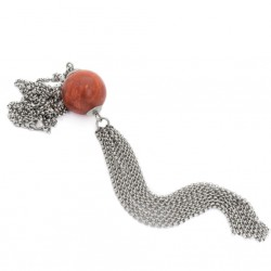 A necklace with a coral in surgical steel, a tassel made of chains