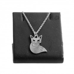 Necklace with a fox, 40 cm surgical steel