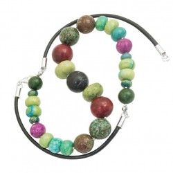 Necklace made of colorful stones 925 silver, leather strap