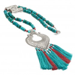 Necklace with turquoise, coral and tassels, boho
