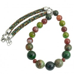 Necklace made of stones, chrurgical steel, Toho glass