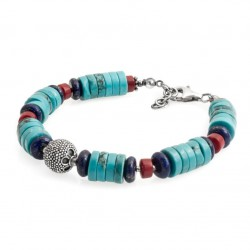 "Bracelet with turquoise, coral, lapis lazuli, 925 silver ""M"" size"