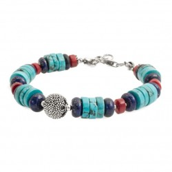 Bracelet with turquoise, coral, lapis lazuli, 925 silver