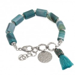 Green agate bracelet with tassel and coin, stainless steel