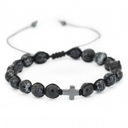 Unisex bracelet with adjustable hematite and agate cross