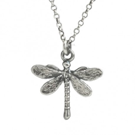 Necklace with a dragonfly pendant, oxidized silver (925)