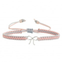 Bracelet with bow, silver and cord