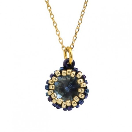 Gold-plated silver necklace with Swarovski crystal 45 cm