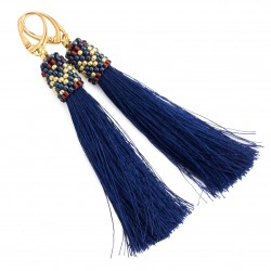 Navy blue tassel earrings, gold-plated silver
