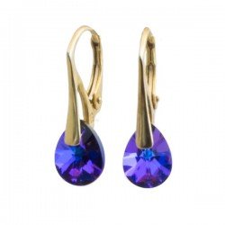Earrings gold plated and Swarovski Heliotrope