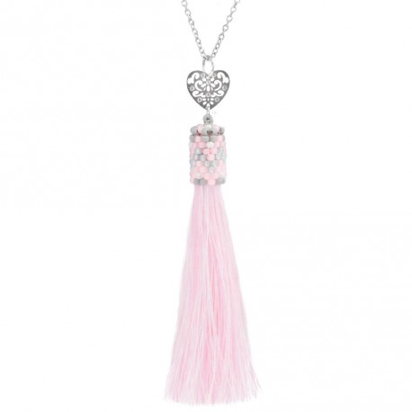 Necklace with pink tassel  and openwork heart stainless steel