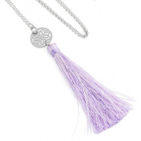 Openwork mandala lilac tassel necklace in surgical steel
