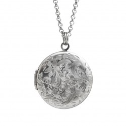 Locket necklace with flowers, stainless steel