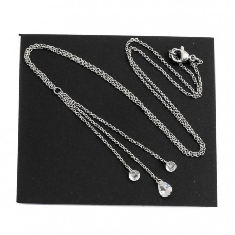Necklace with cubic zirconia, surgical steel