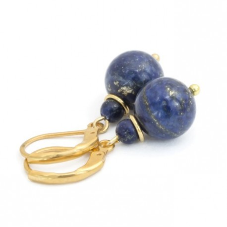 Lapis lazuli earrings, gold-plated surgical steel