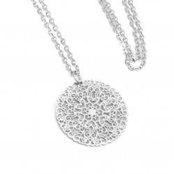 Necklace with an openwork mandala, 60 cm surgical steel