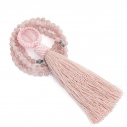 Mala long necklace with pink jade tassel, unique