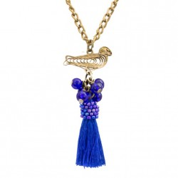 Long necklace with a bird and a tassel