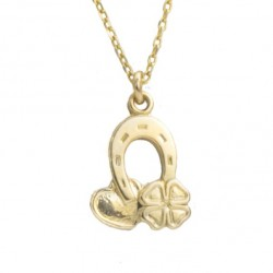 Horseshoe necklace with silver gilded 50 cm