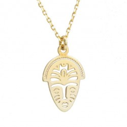 Necklace with African mask silver gold plated 42 cm