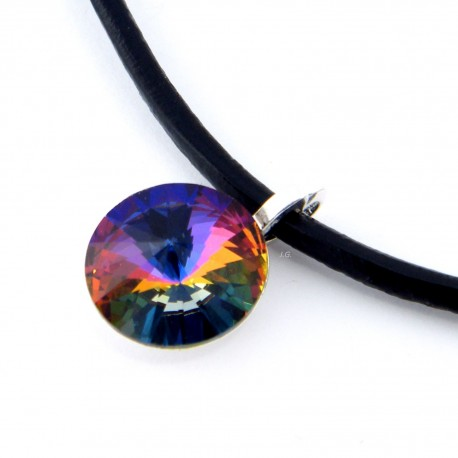 Volcano - Swarovski, silver and leather - necklace